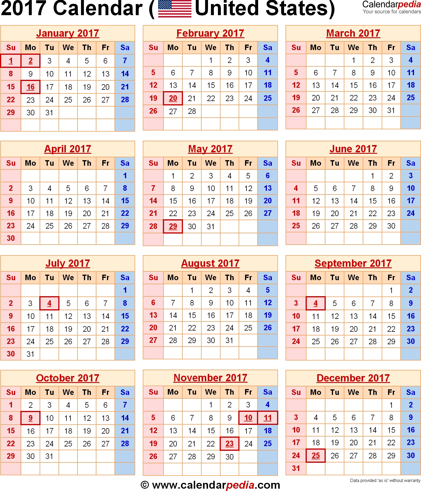 2017 Calendar With Federal Holidays Excelpdfword Templates3abry