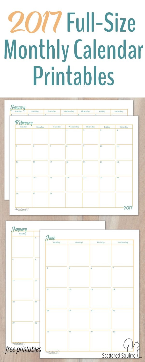 2017 Full Size Monthly Calendar Printables Are Here Layouts  Xjb