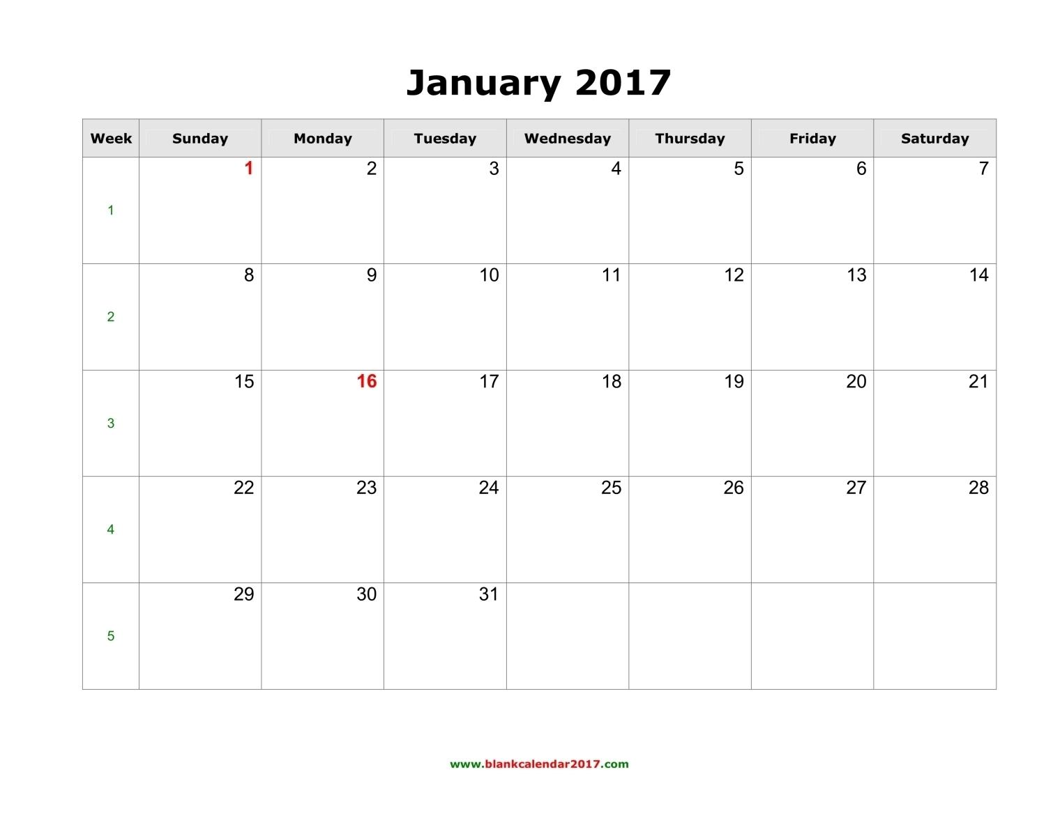 2017 Monthly Calendar Template 2017 Calendar With Holidays  Xjb