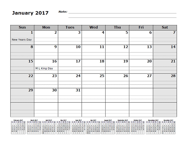 2017 Monthly Calendar Template With 12 Months References Free