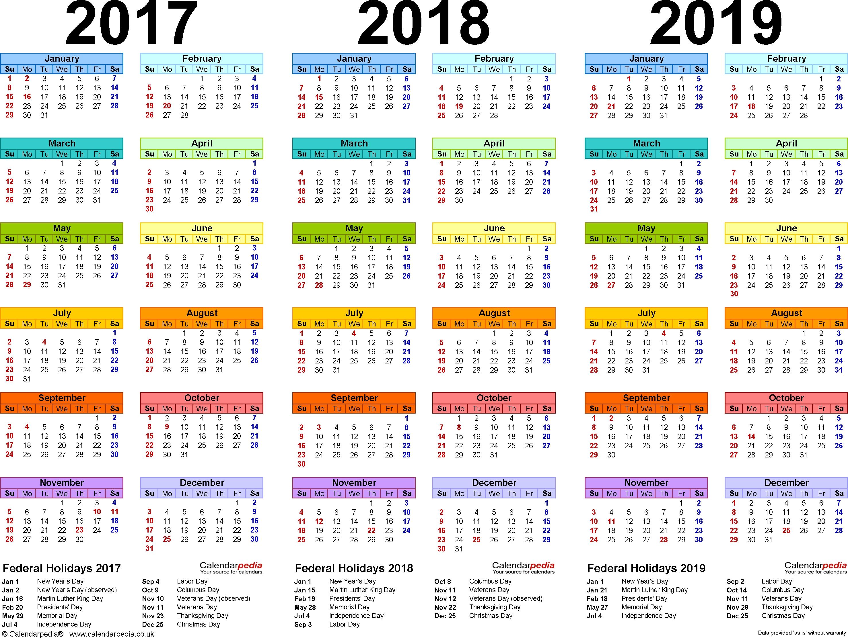 201720182019 Calendar 4 Three Year Printable Pdf Calendars  Xjb