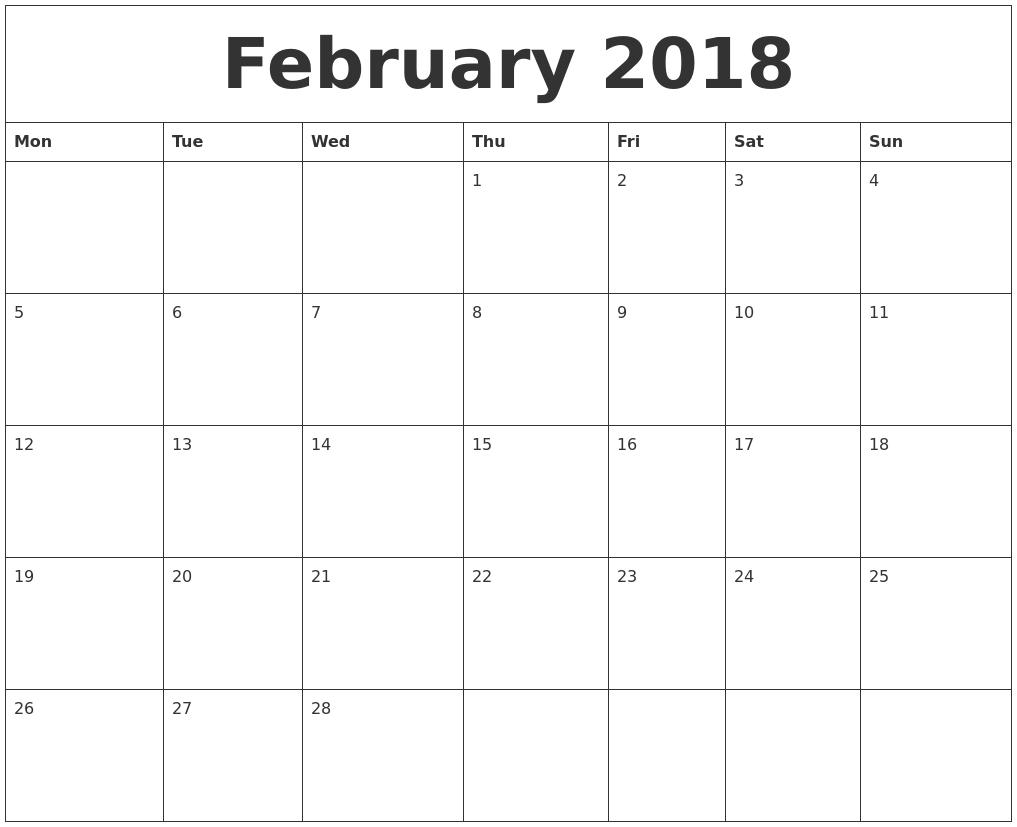 2018 Blank Monthly Calendar Template3abry