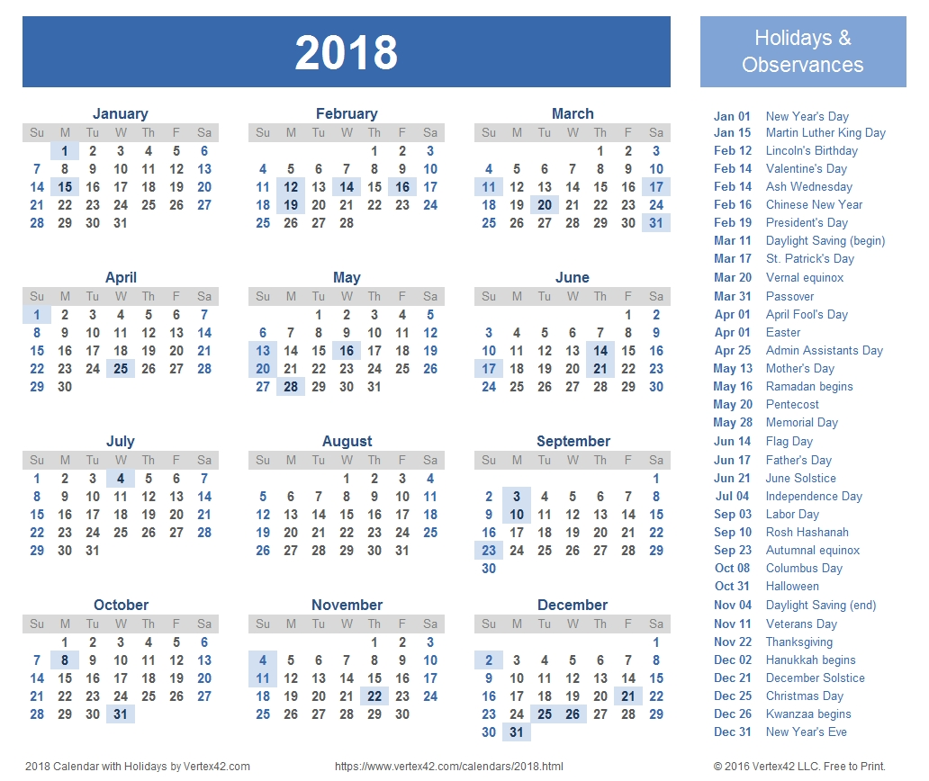 2018 Calendar Templates And Images  Xjb