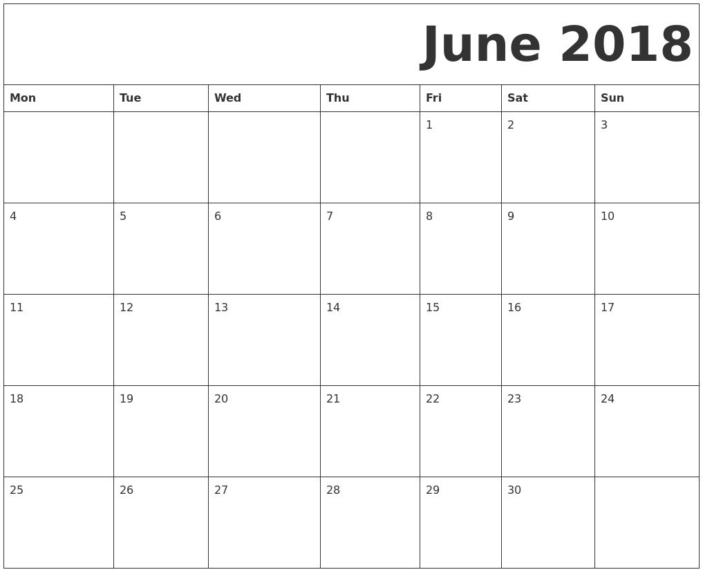 2018 Free Printable Calendar  Xjb