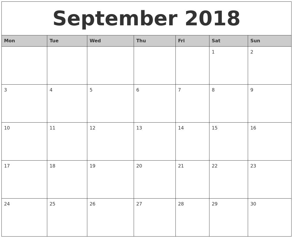 2018 Monthly Calendar Printable  Xjb