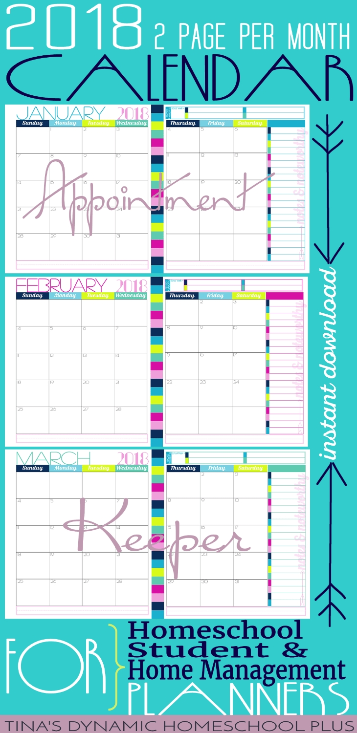 2018 Two Page Per Month Physical Year Calendar Glamorous Option3abry