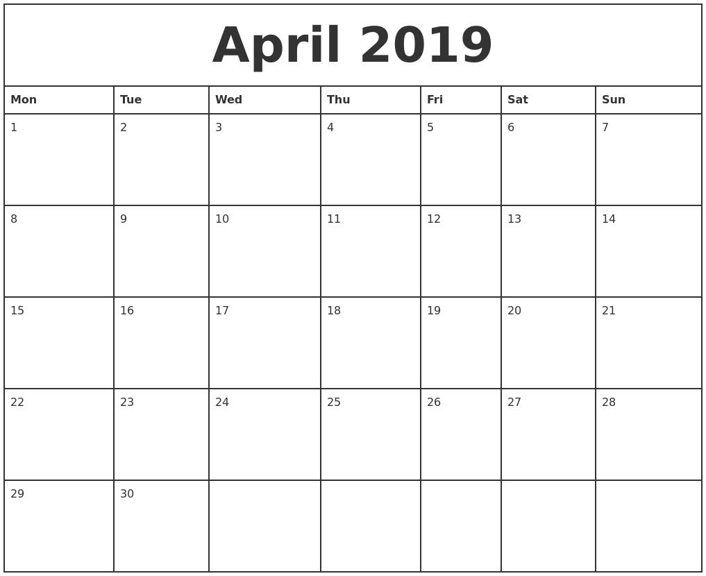 2019 Printable Monthly Calendar  Xjb