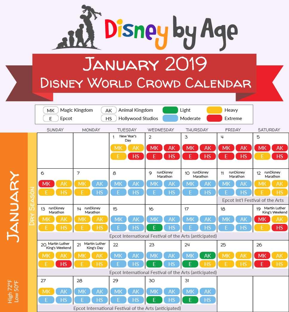 201901 Disney Crowd Calendar Disney Age3abry