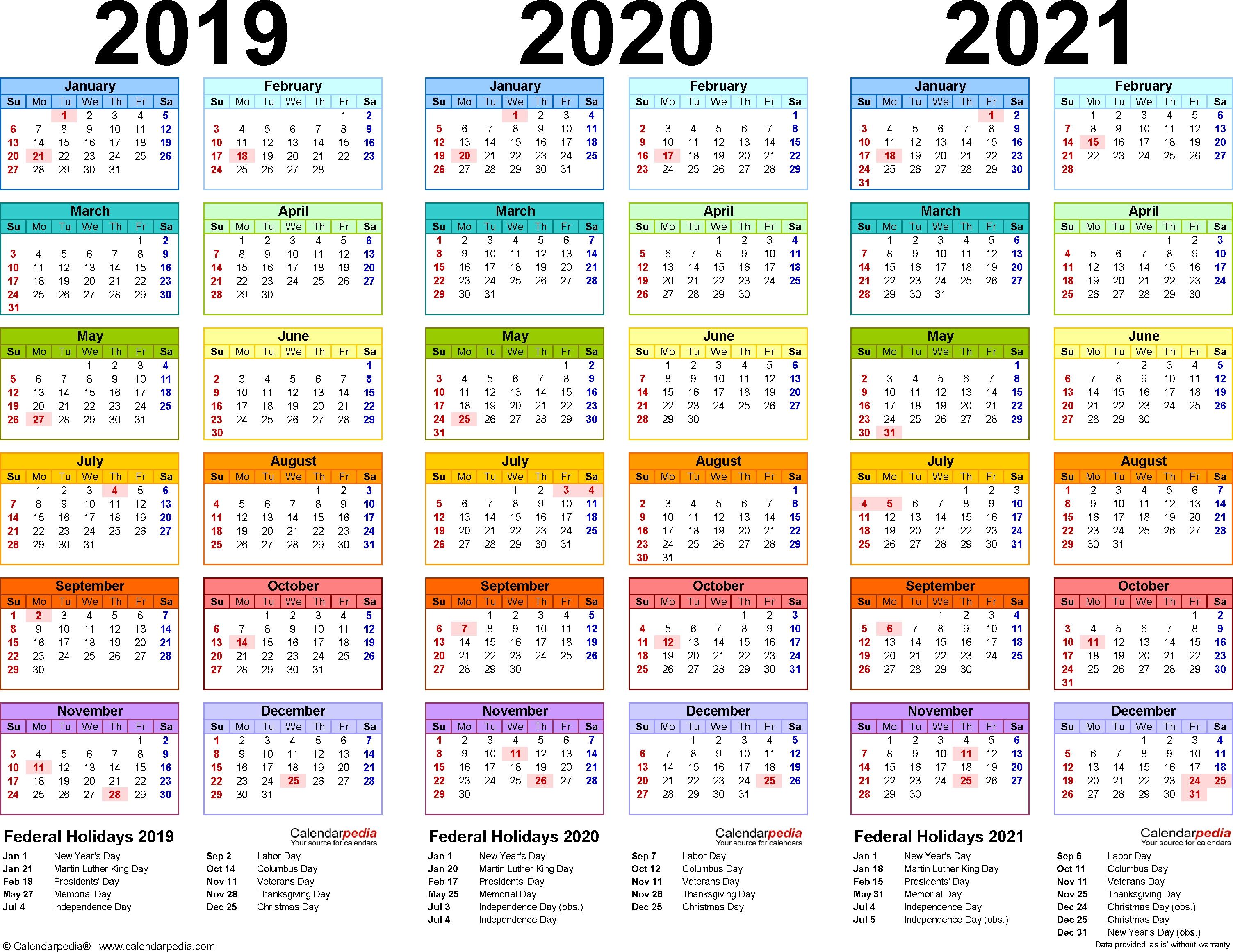 201920202021 Calendar 4 Three Year Printable Word Calendars  Xjb