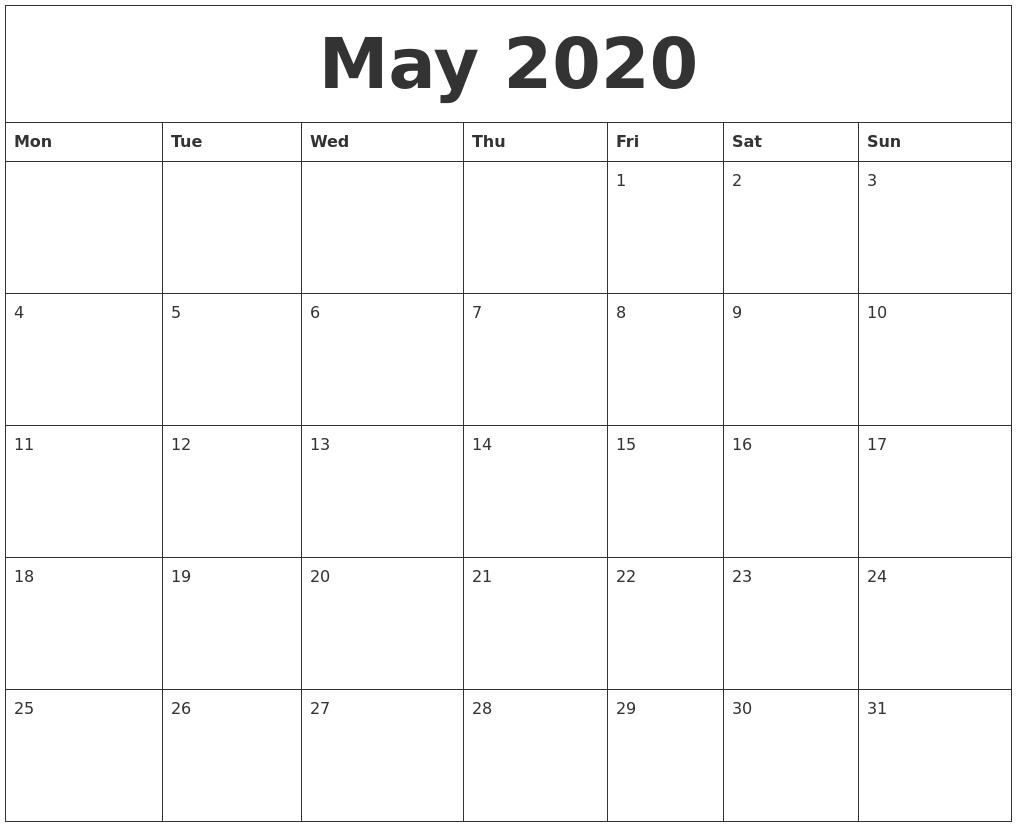 2020 Calendar Month3abry