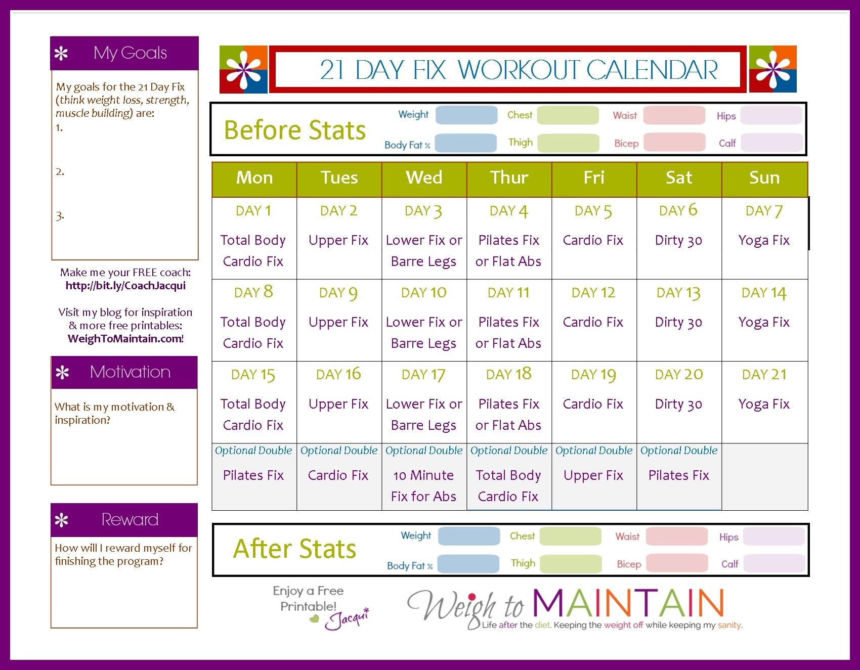 21 Day Fix Workout Calendar Calendar Template Excel3abry