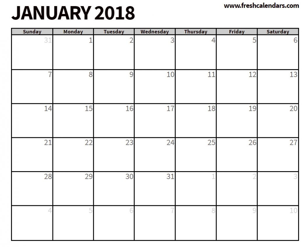 25 Blank Printable January 2018 Calendar Free Templates For3abry