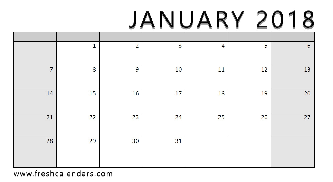 25 Printable January 2018 Calendar Templates Online