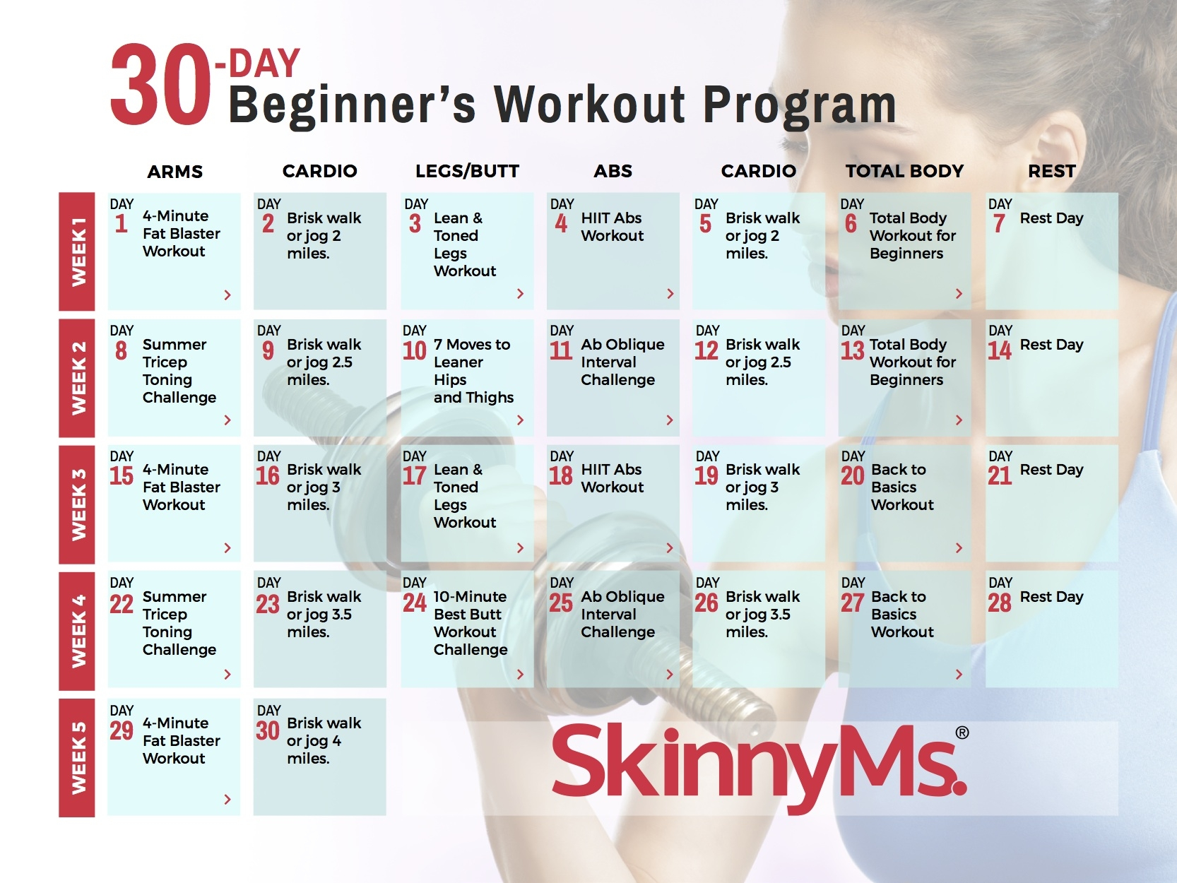 30 Day Beginners Workout Calendar Skinny Ms 89uj