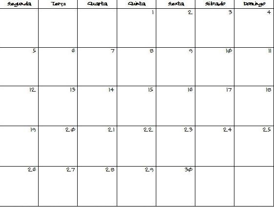 30 Day Blank Calendar Template