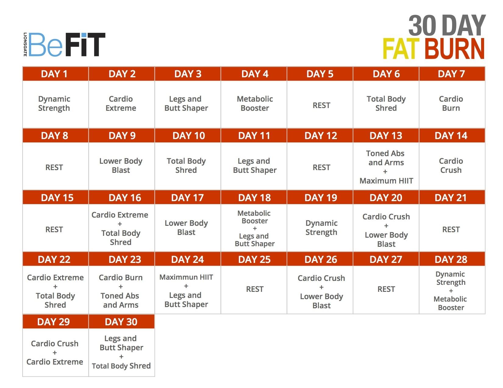 30 Day Fat Burn Calendar Httpwwwyoutubeplaylistlist3abry