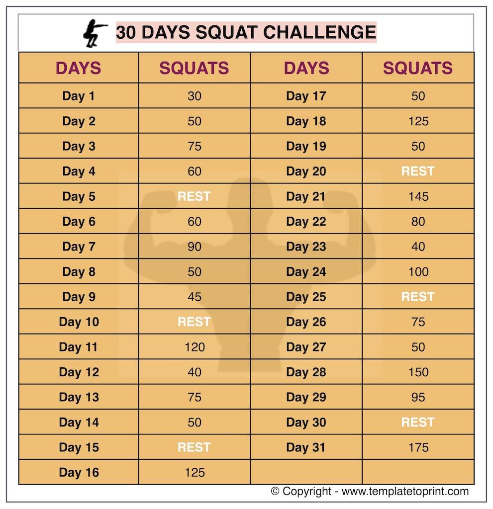 30 Day Squat Challenge Printable Calendar Squat Workout At Home  Xjb