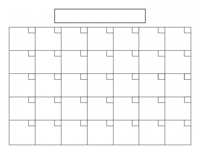 31 Day Blank Calendar Calendar Printable Template