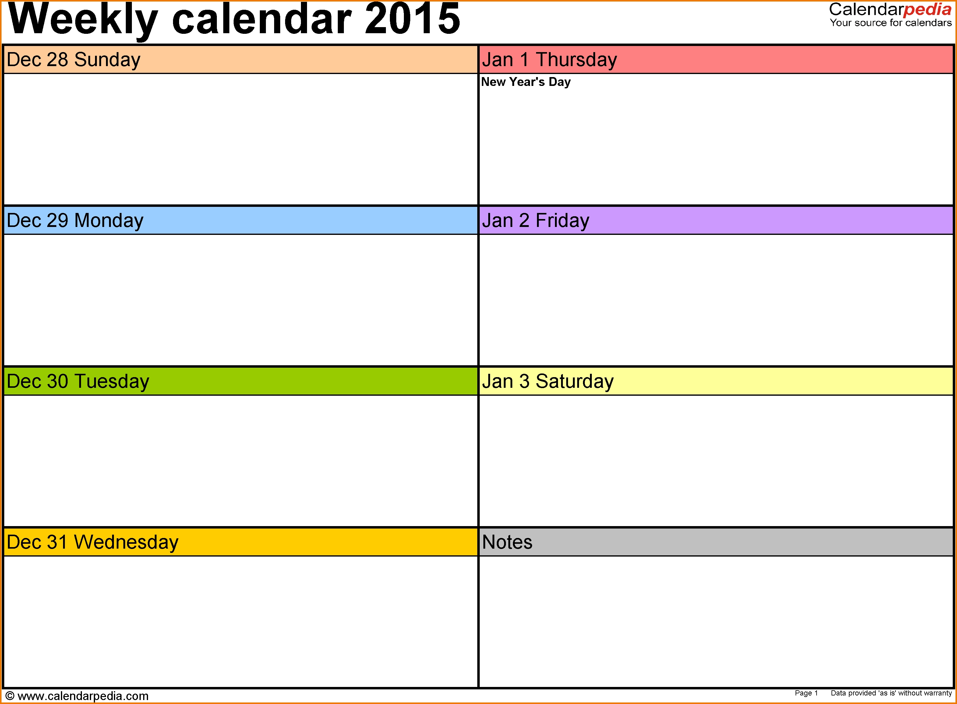 4 Weekly Calendar Template Expense Report  Xjb