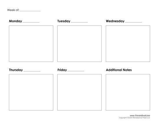 5 Day Weekly Calendar Printable Yspages