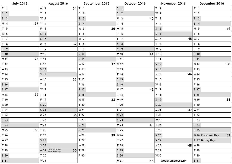 52 Week Numbered Calendar 2016 Calendar Template 20183abry
