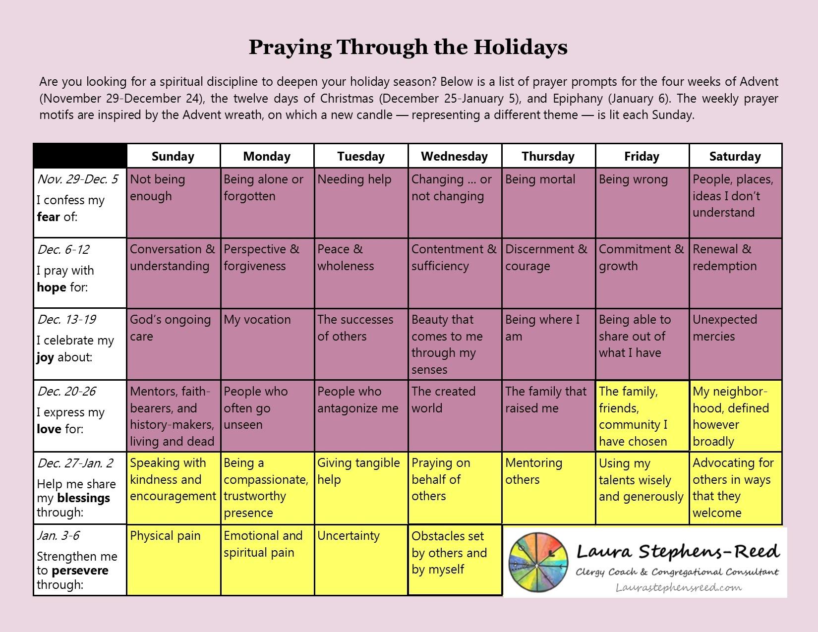 Advent Prayer Calendar Laura Stephens Reed  Xjb