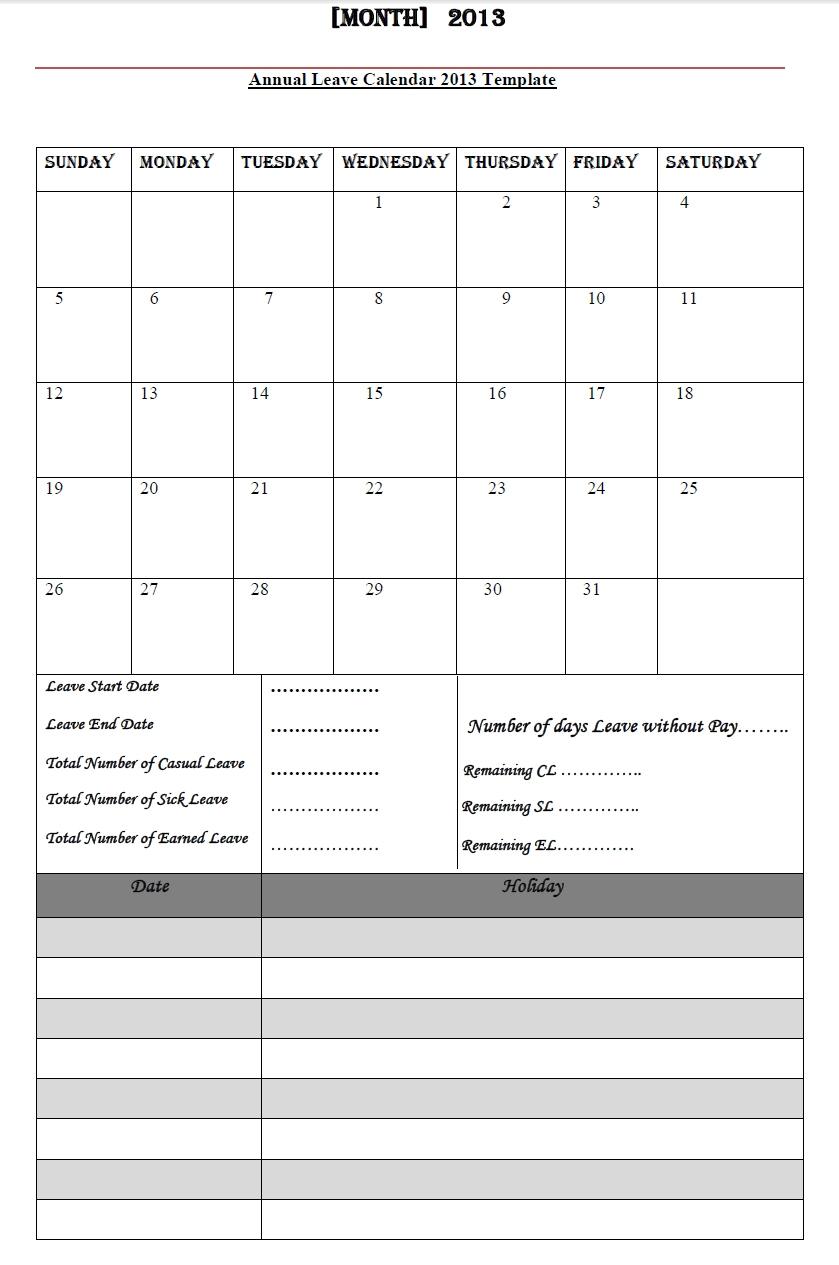 Annual Leave Calendar 2013 Annual Leave Calendar 2013 Template3abry