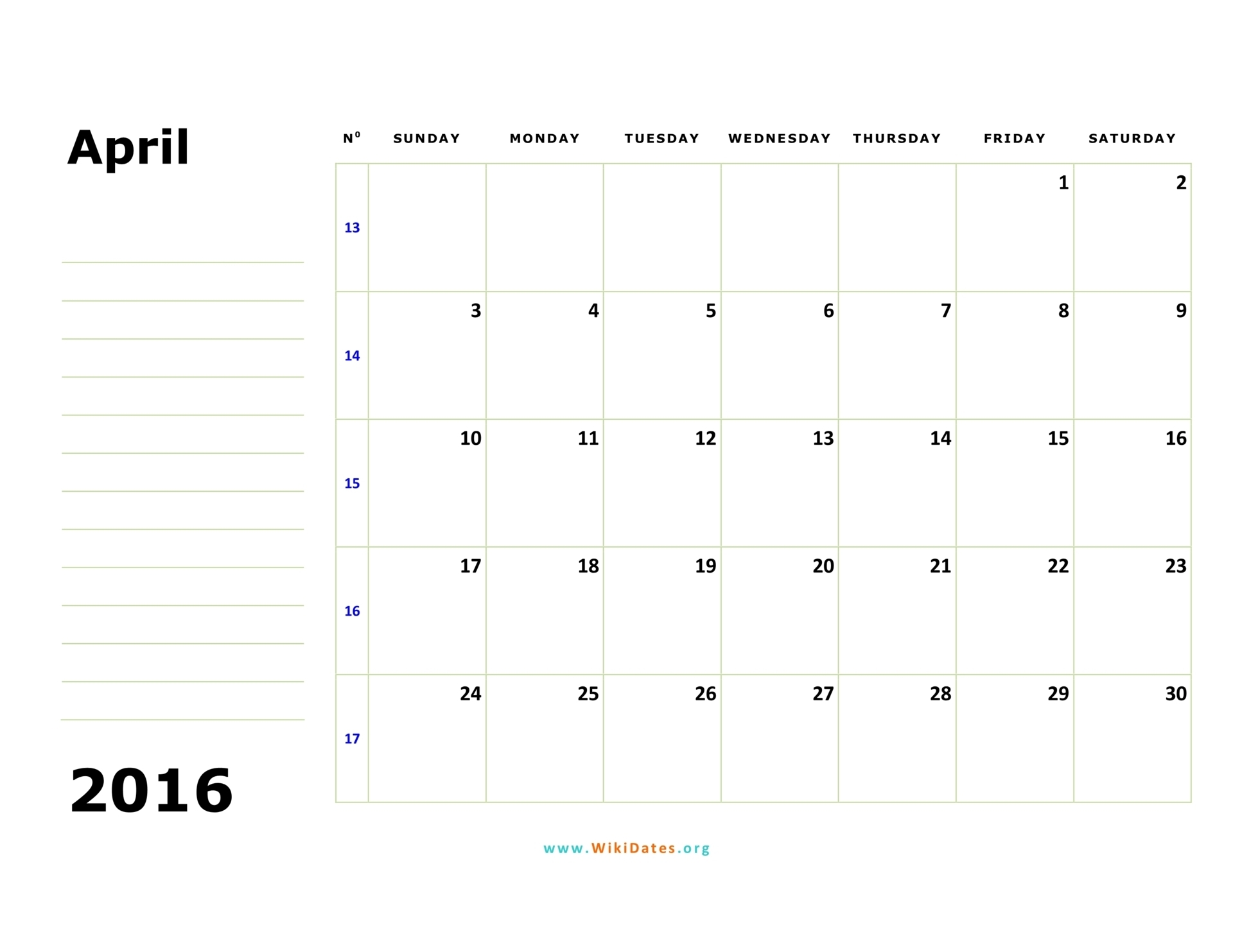 April 2016 Calendar Wikidates  Xjb
