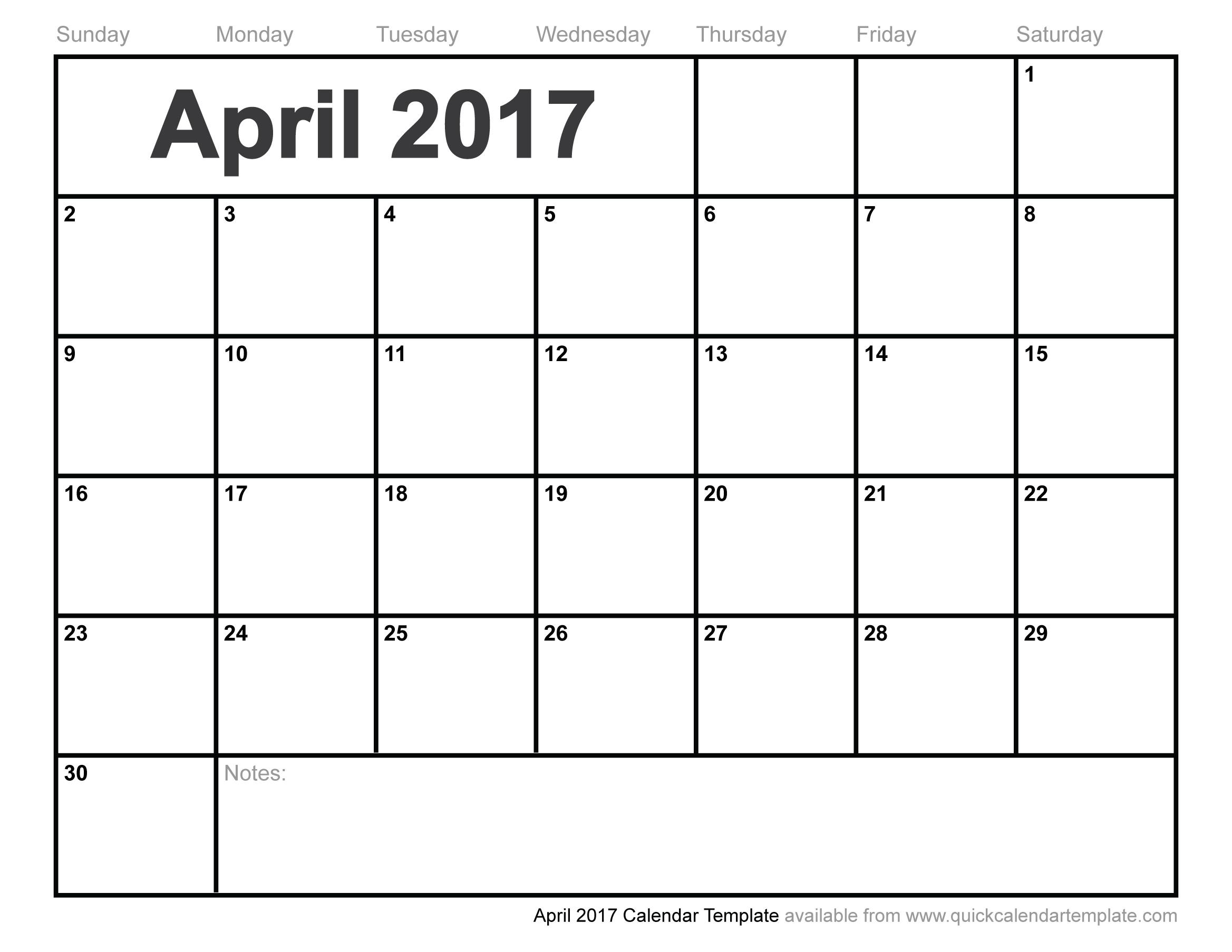 April 2017 Calendar To Print Pdf Excel Word Document Sheet  Xjb