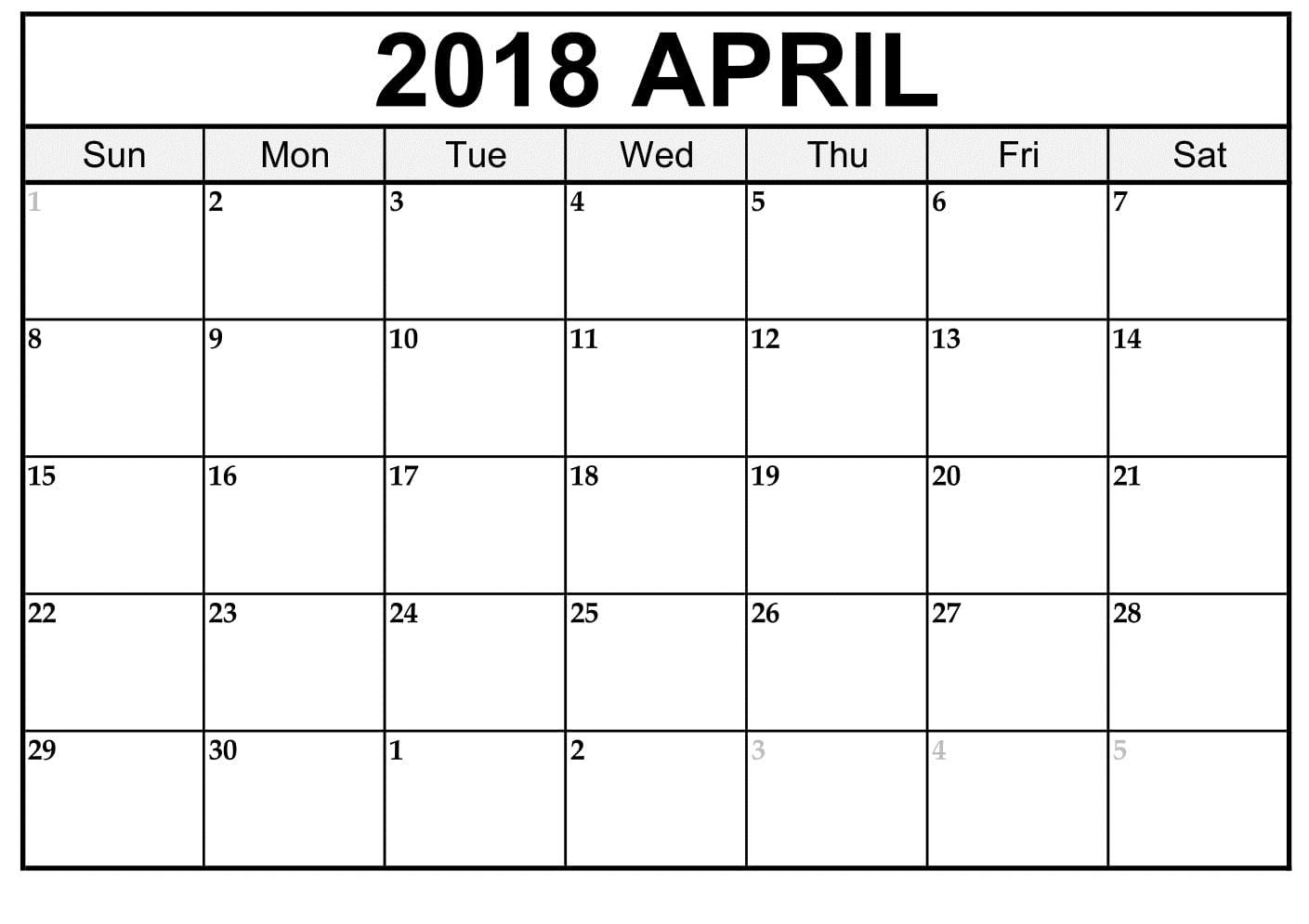 April 2018 Calendar Word Document Printable  Xjb