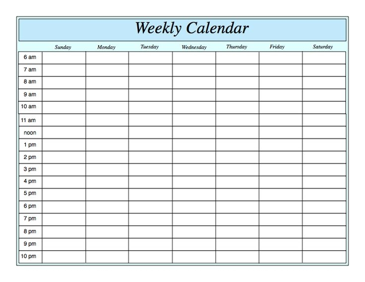 Weekly Calendar Generic : Generic weekly calendar template free