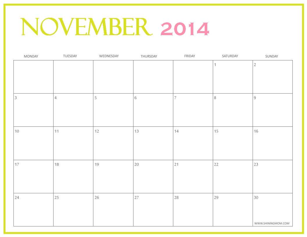Big Calendar November Blank Calendar Design 2017  Xjb