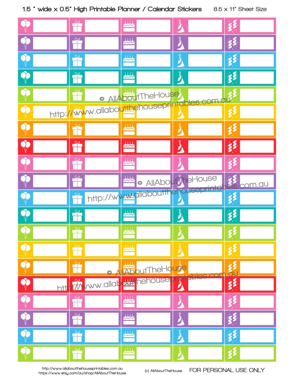 Birthday Stickers Printable Calendar Planner Stickers 13abry
