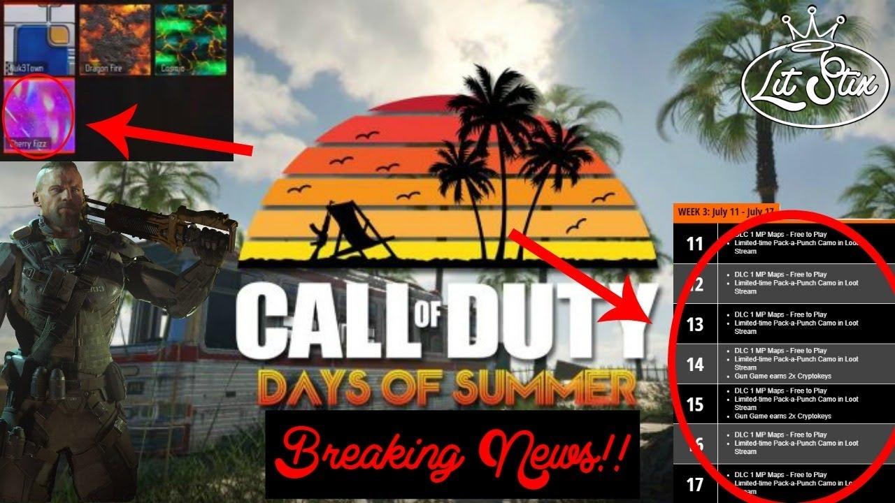 Black Ops 3 Days Of Summer News Ak74u 1911 In Chronicles New 89uj