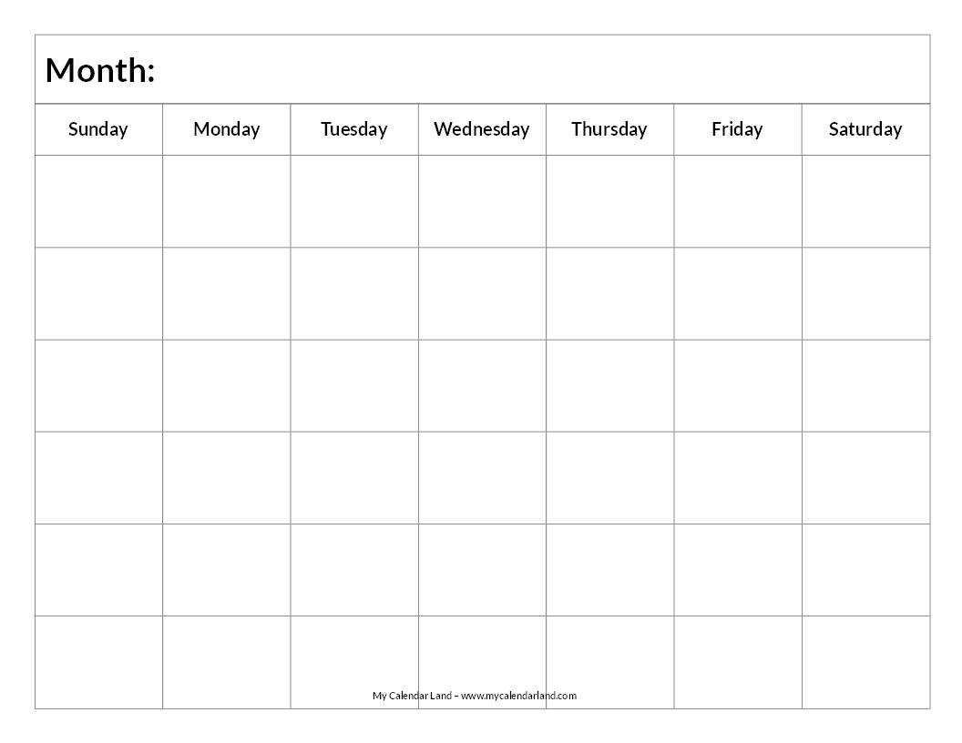Blank 6 Month Calendar  Xjb
