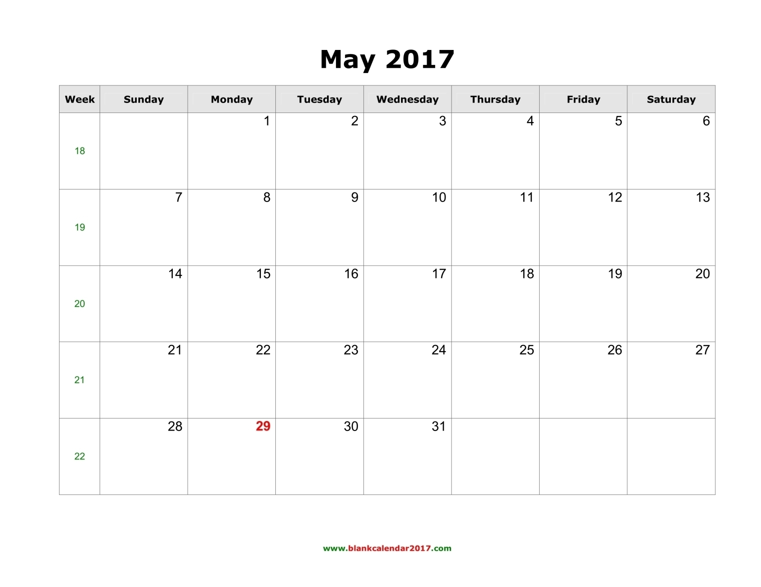 Blank Calendar For May 20173abry