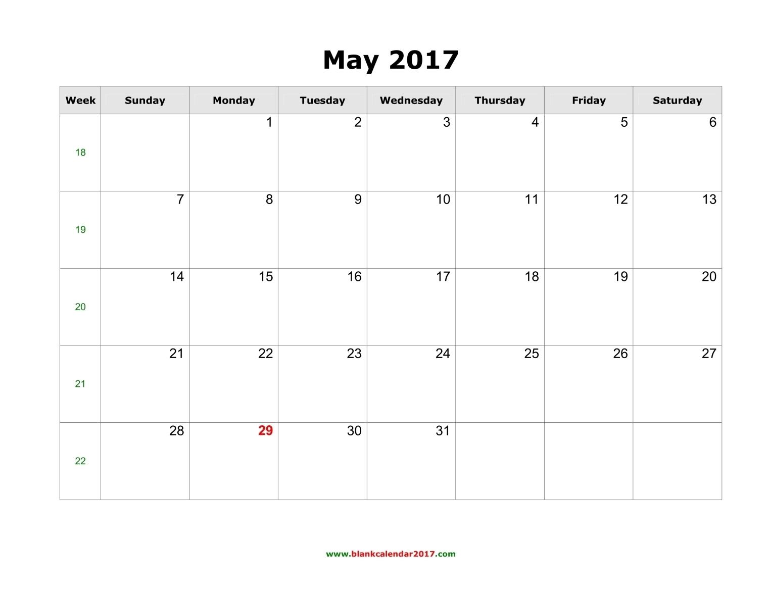 Blank Calendar For May 2017  Xjb