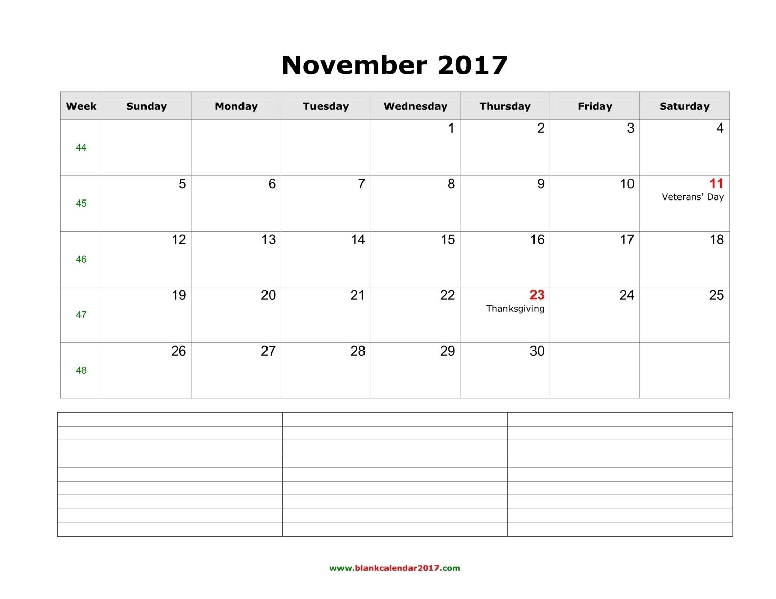 Blank Calendar For November 2017  Xjb