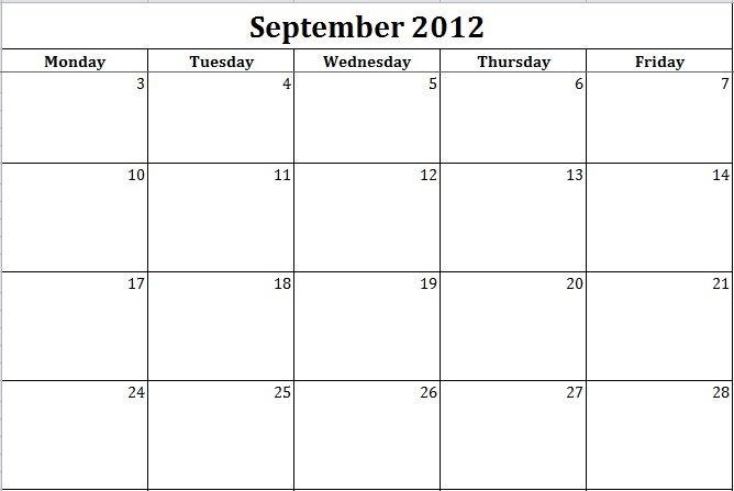 Blank Calendar Monday Through Friday Fieldstationco