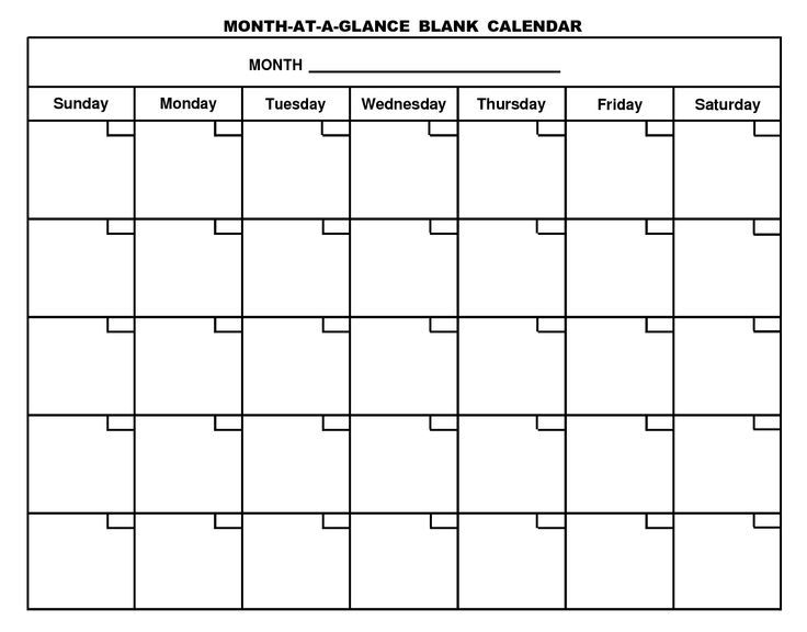 Blank Calendar Page Preschoolkindergarten