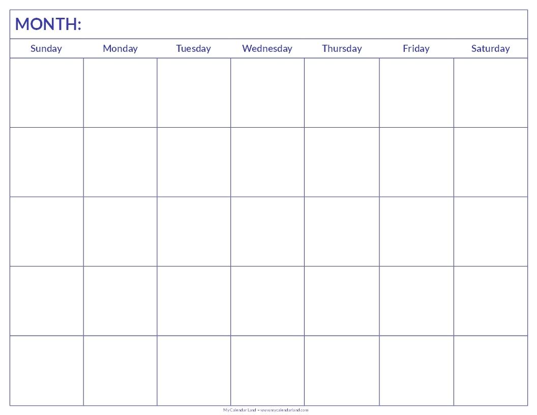 Blank Calendar Print Outs Printable Calendar Template Printable3abry