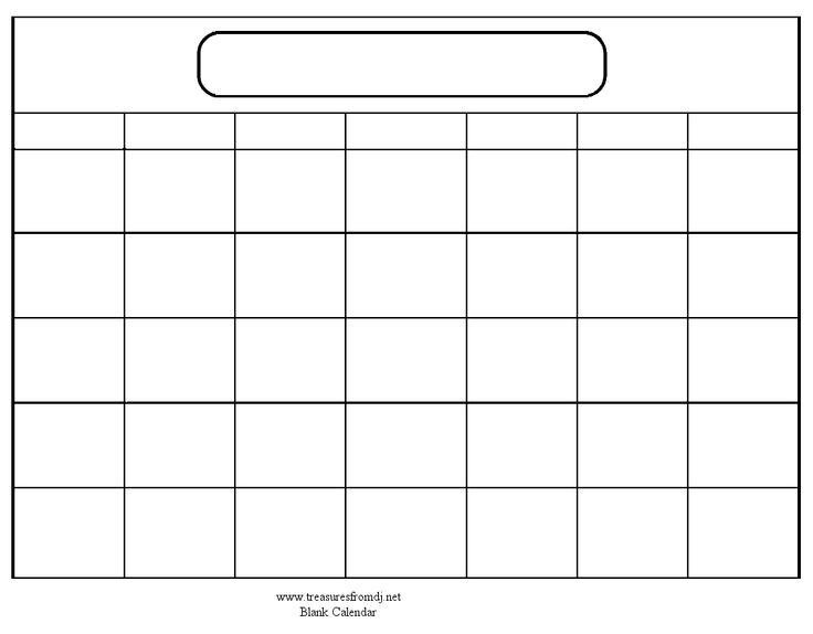 Blank Calendar Template Free Small Medium And Large Images
