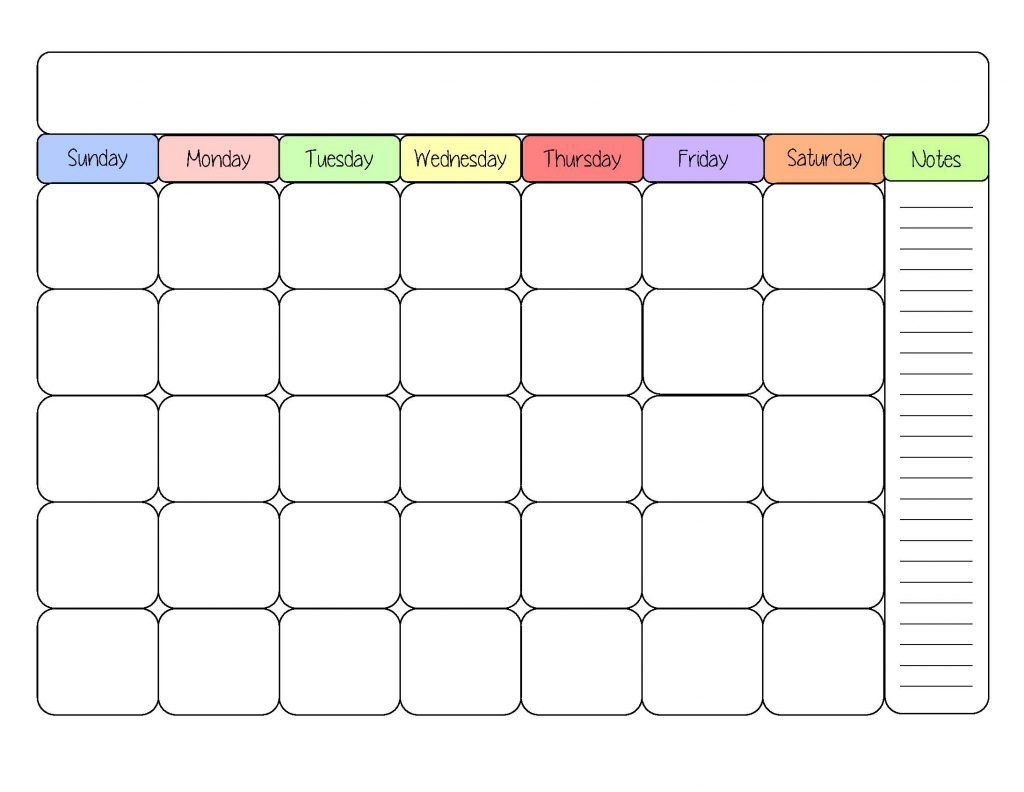 Blank Kids Calendar Printable Online Calendar  Xjb