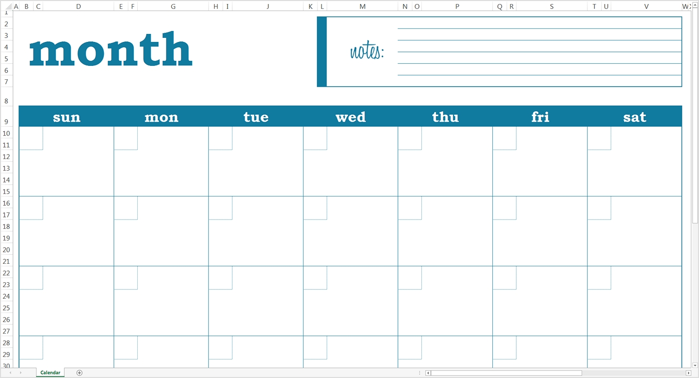 Blank Monthly Calendar Excel Template Savvy Spreadsheets3abry