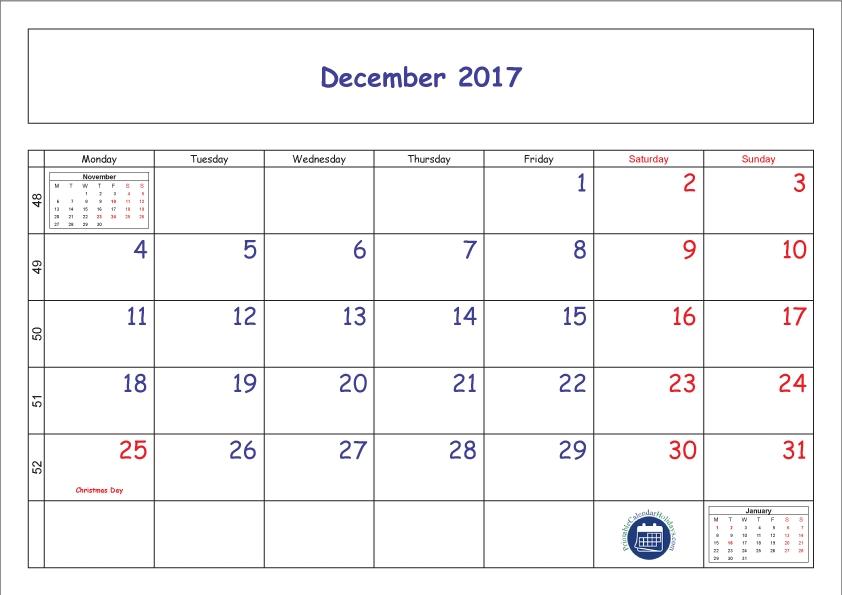 Blank Printable December 2017 Calendar With Week Numbers