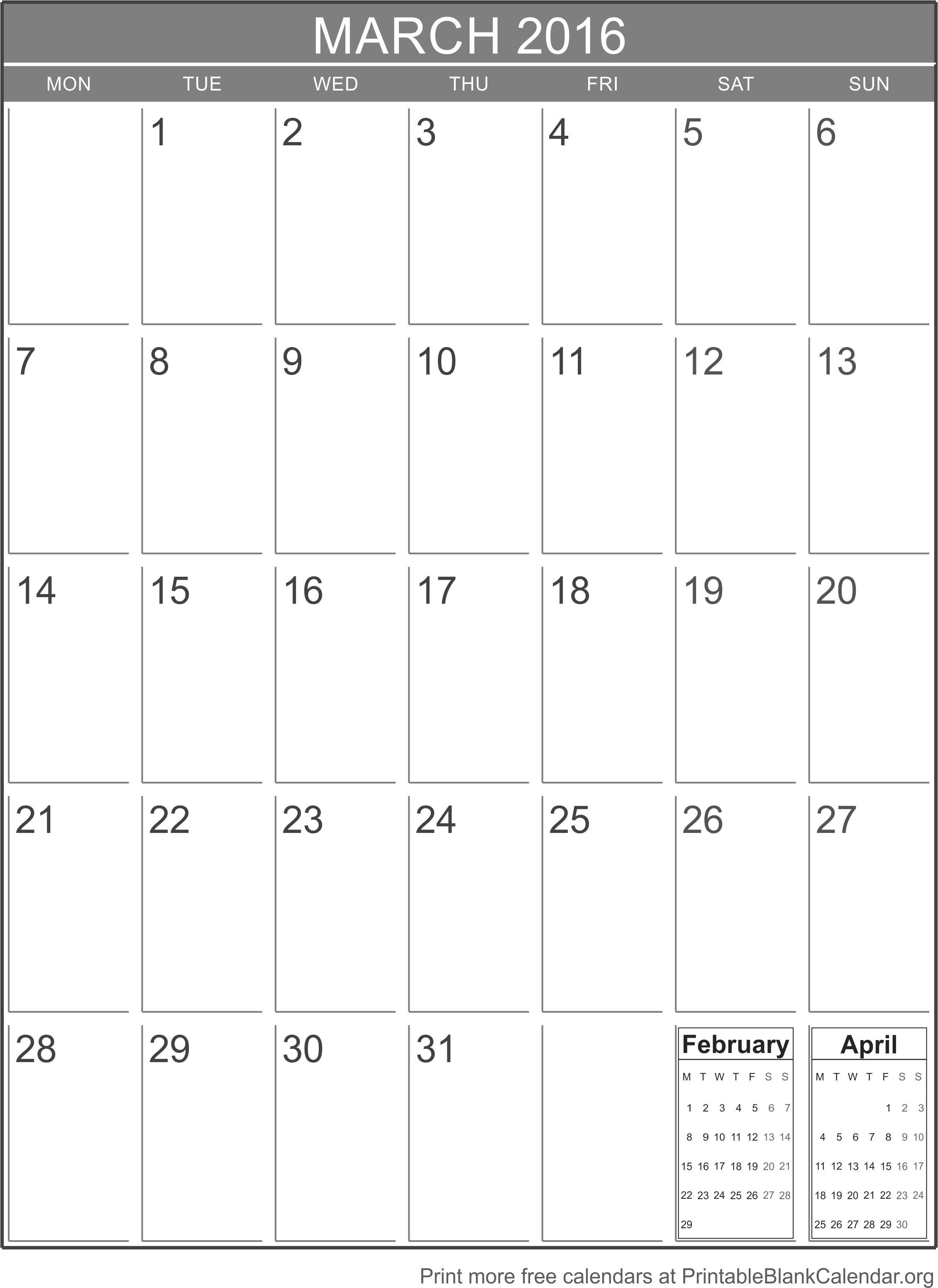 Blank Vertical Calendar Template3abry
