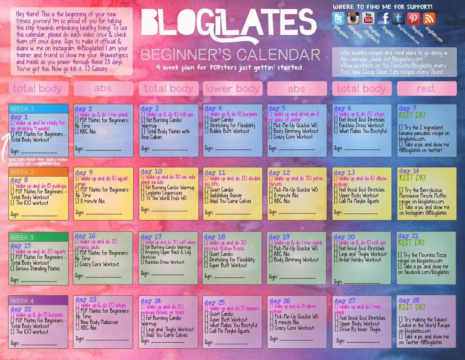 Blogilates Beginners Calendar Day 7 Nimble Note  Xjb