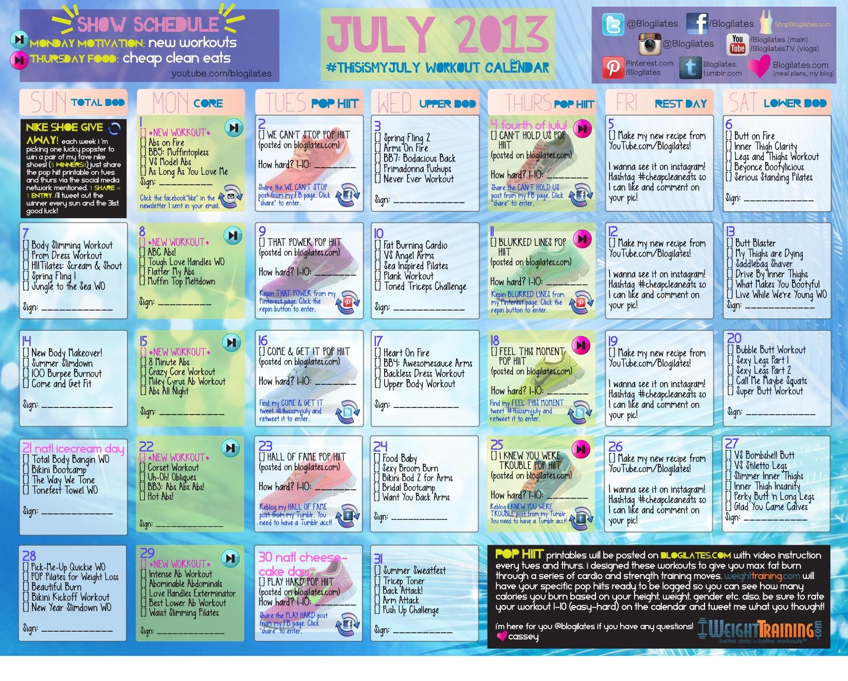 Blogilates Workout Calendar For Beginners Eoua Blog  Xjb