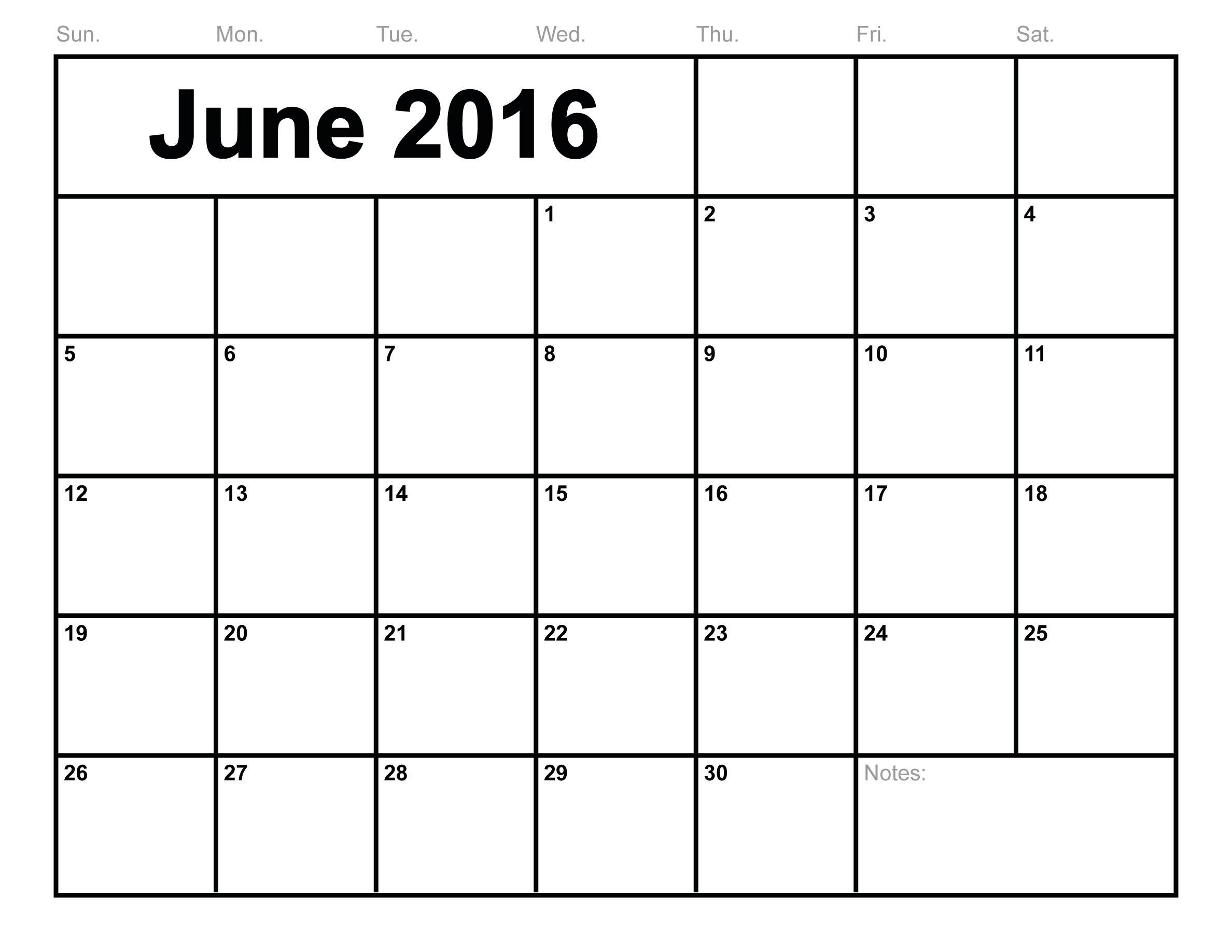 Calendar 2016 Month To Print June 2016 Calendar Printable Free  Xjb