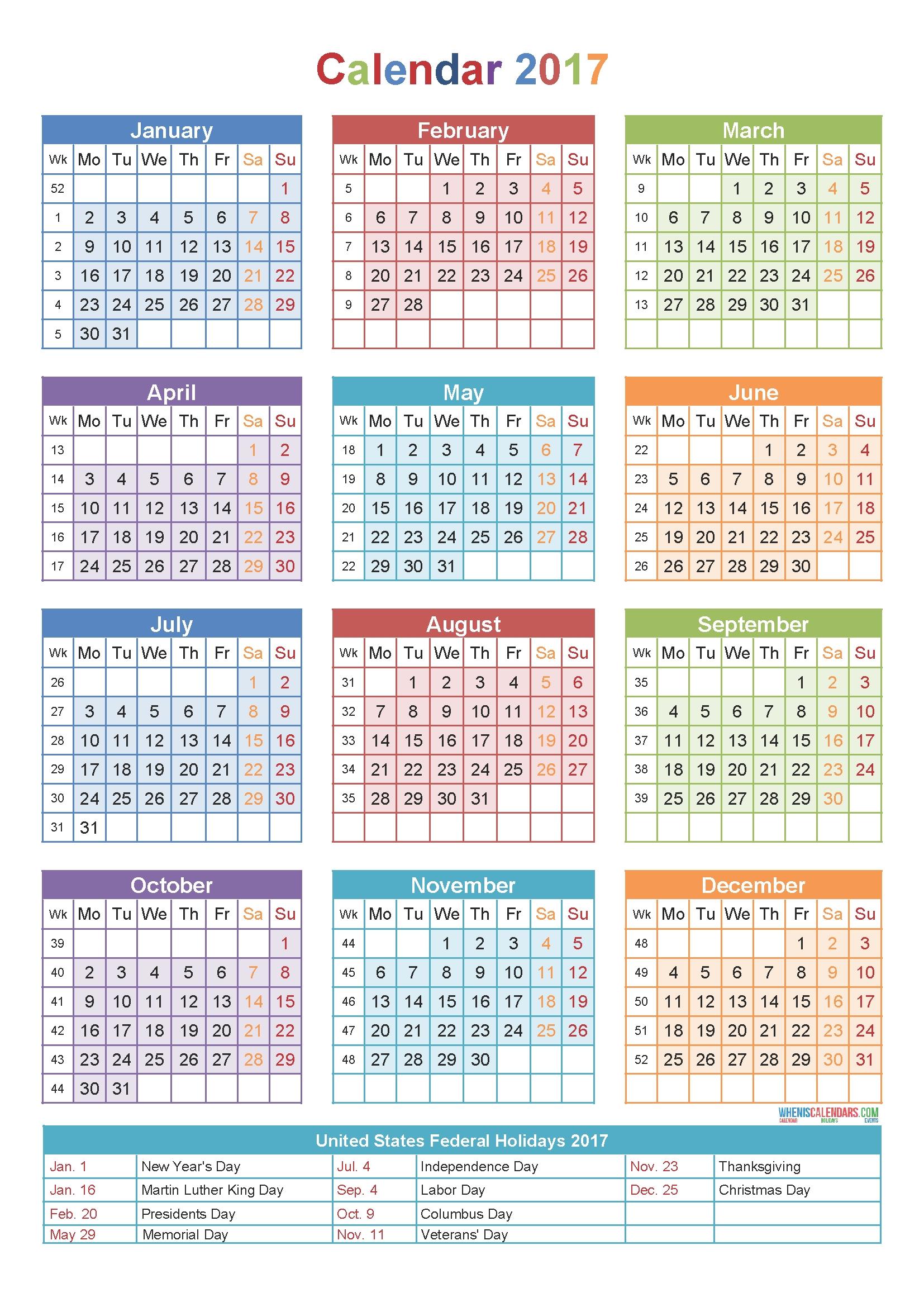 Calendar 2017 Week Number Holidays Pinterest Calendar3abry